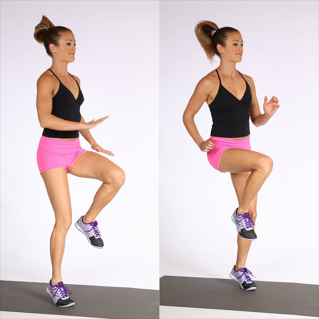 High Knee Toe Taps leg workouts at home