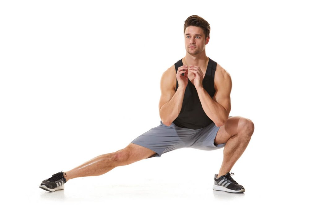 Men Doing excercise Lateral lunge